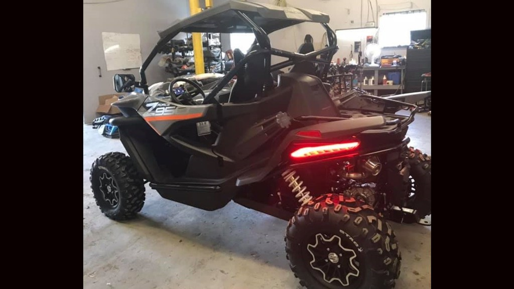 Members of the Western Valley RCMP are searching for this side-by-side all terrain vehicle. Two side-by-side ATVs and six chainsaws were stolen from a business in Florenceville-Bristol.