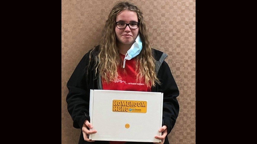 Brooke McDougall, 13, was one of four local youth to receive a Homeroom Hero kit containing face masks and hand sanitizer to share with their classmates from Docbraces Hatheway in Grand Falls.