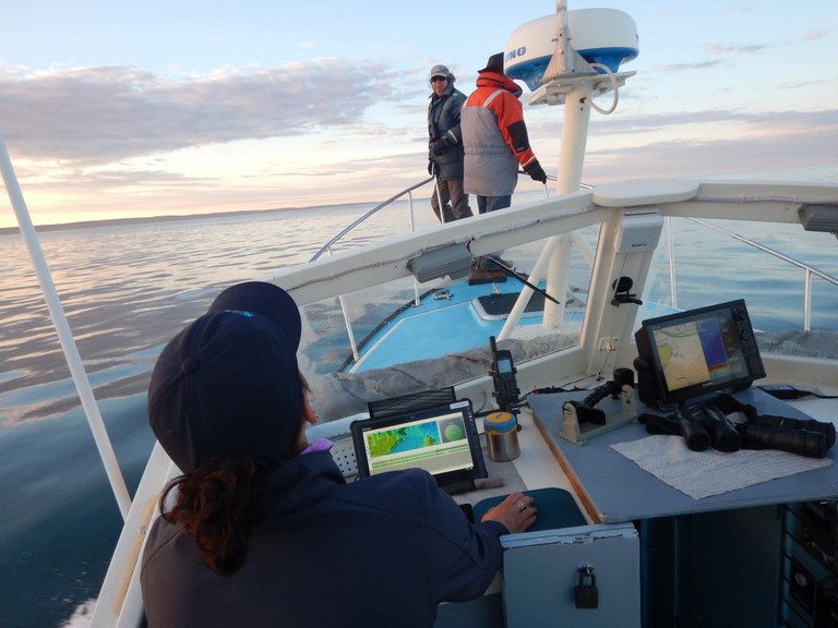 Researchers work aboard the Nereid vessel in the Bay of Fundy earlier this summer.