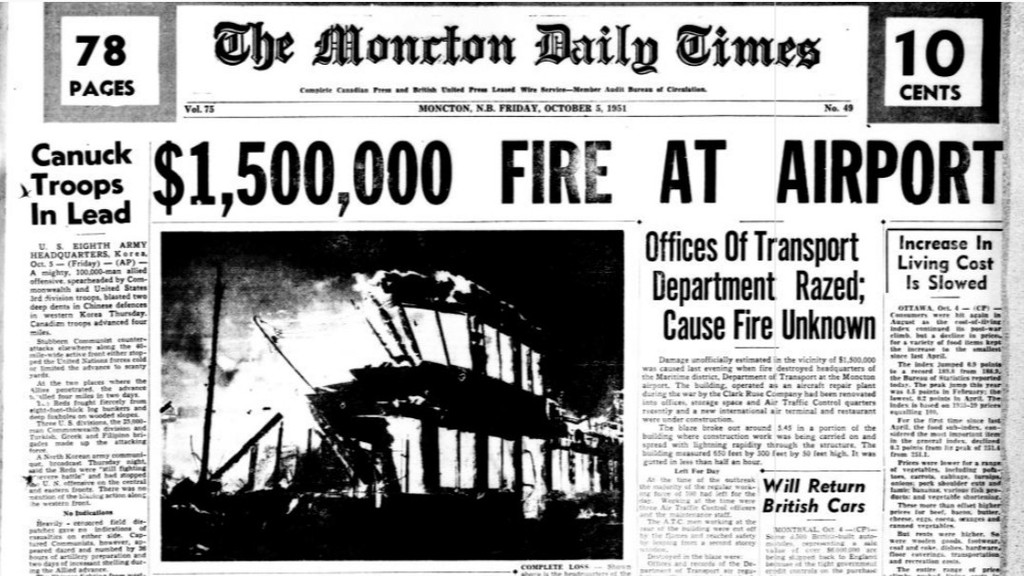 The front page of the Moncton Daily Times on Oct. 5, 1951, tells how a huge aircraft hangar near the airport was destroyed by fire.