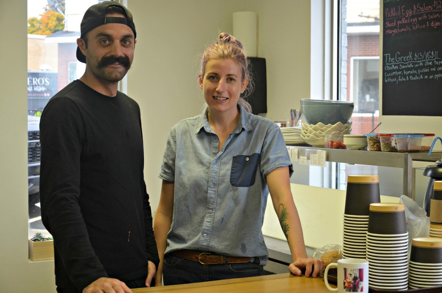 Peter Comisso, left, and Chelsea Rivalin, co-managers of the Golden Oak soup, sandwich, and salad shop, say their new eatery in downtown Newcastle has been well-received.