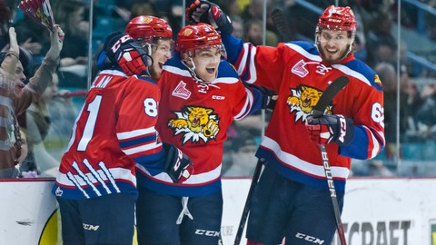 Former Moncton Wildcats forward James Phelan, left, celebrates a goal during the 2018 QMJHL playoffs.