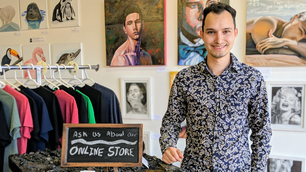 Mathieu Hebert, proprietor of the Acorn Studio art shop in Moncton, which displays and sells work by local and regional artists.