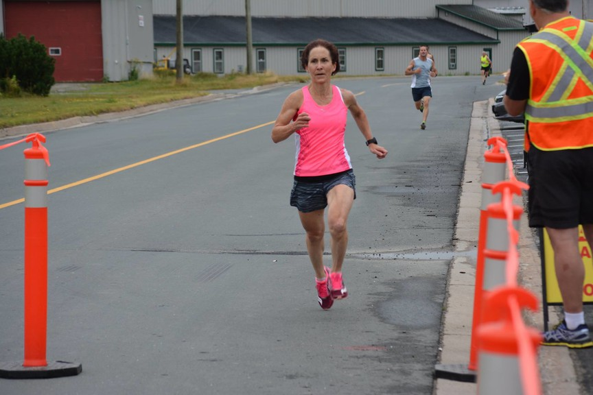 Dr. Paula Keating of Miramichi won the Miramichi River Runners' annual Miramichi Five-Mile Race, held virtually on Sunday, with a time of 30:59.