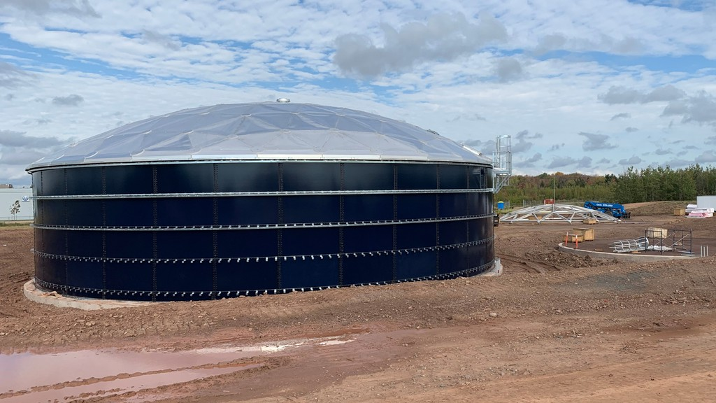 These large storage tanks at the Greater Moncton Roméo LeBlanc International Airport are part of a new system to capture and hold the glycol de-icing fluid and release it more slowly into the wastewater system.