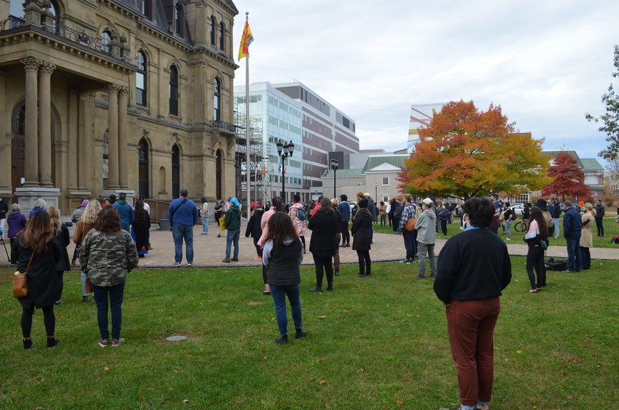 A crowd of more than 100 gathered outside the New Brunswick legislature, to show support for Indigenous fishers in Nova Scotia, who've recently been the target of violence in escalating protests by non-Indigenous fishers.
