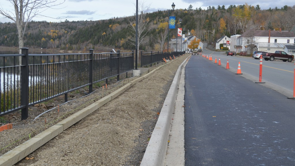 Work continued this week on the boardwalk refurbishment along the upper end of East Riverside Drive in Perth-Andover. Preparations were made for the addition of the concrete sidewalk.