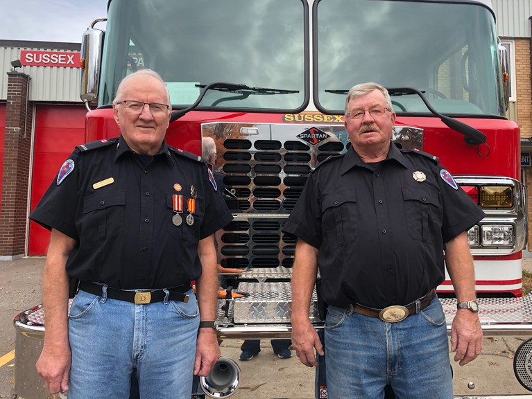 Sussex firefighters Clayton McCullum, left, and Thomas Murray recently announced they would be retiring at the end of October. Murray served 50 years in Sussex and McCullum served 47 years. They will be greatly missed, says Fire Chief Bill Wanamaker.