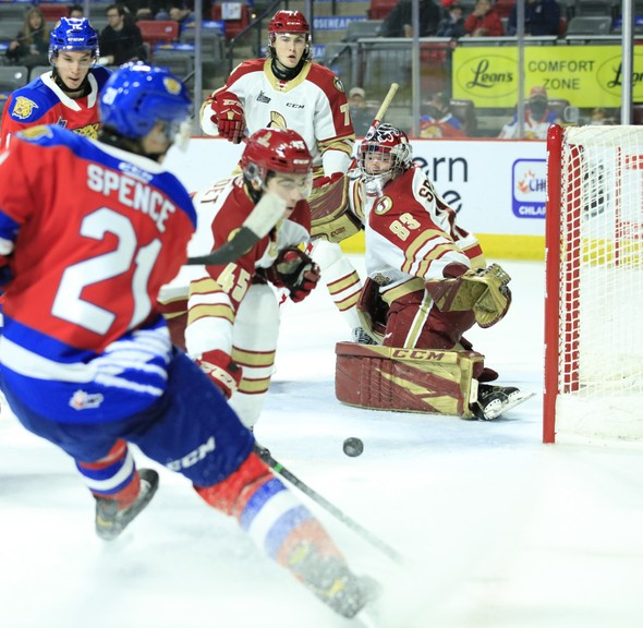 Acadie-Bathurst Titan goaltender Christian Sbaraglia made 33 saves in a 4-2 win over the Moncton Wildcats in QMJHL action on Friday night at the Avenir Centre. He was named first star.