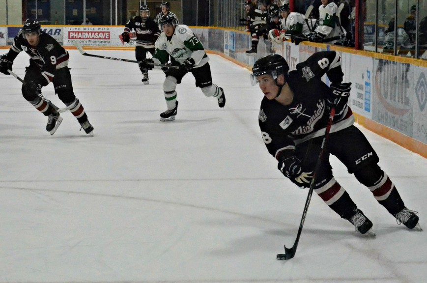 Spencer Blackwell, 8, scored the overtime winner in the Miramichi Timberwolves' 5-4 triumph over the Grand Falls Rapids in Maritime Junior Hockey League pre-season action Saturday at Miramichi Civic Centre. The newly acquired forward accumulated six points in four exhibition contests with the Wolves.