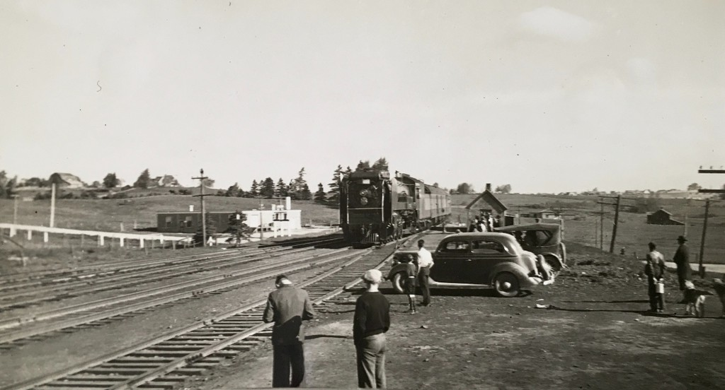 Pictured in this photo from the Bathurst Heritage Museum is a train going over College Street, in Bathurst. The image is likely from the 1940s.