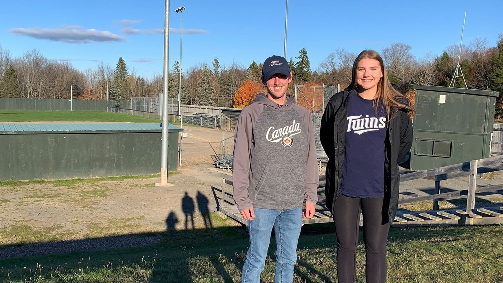 Fredericton Fastpitch Association technical director Matt Whipple, left, and executive director Cameron Rogers, right, are co-chairs for Softball Canada's 2021 U16 boys fastpitch championship to be held Aug. 11-15 at Prospect Street Park fields.