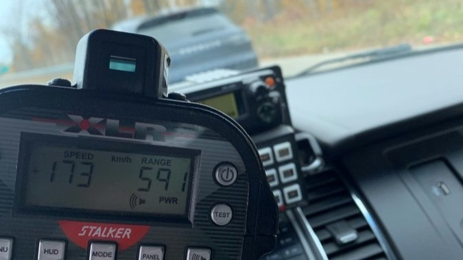 Fredericton police say they fined a driver going 173 km/h in a 90-km/h zone on Route 8 between Smythe Street and Hanwell Road, and posted a photo of the radar gun.