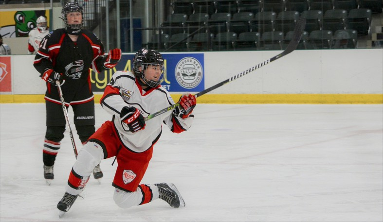 Audrey Clavette, shown in this file photo, scored a goal to help the EDZA West U18 AAA TNT Reds beat the Fundy Nationals 2-0 to open the Maritime Major U18 Female Hockey League regular season.