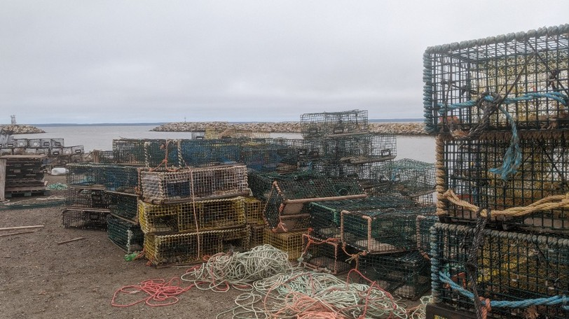 Lobster traps are piled on the wharf in Saulnierville, N.S. in this file photo. Police in Digby are investigating two separate thefts of lobster traps from the same property.