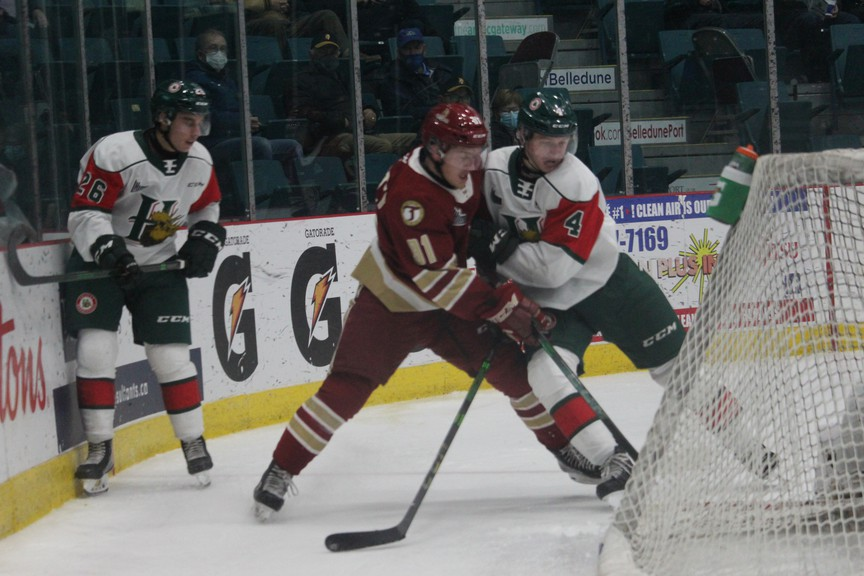 Pictured in this photo is a past match-up between the Acadie-Bathurst Titan and Halifax Mooseheads at the K.C. Irving Regional Centre in Bathurst. The Titan edged the Mooseheads 4-3 in a shootout win Friday night on the road at Scotiabank Centre in Halifax.