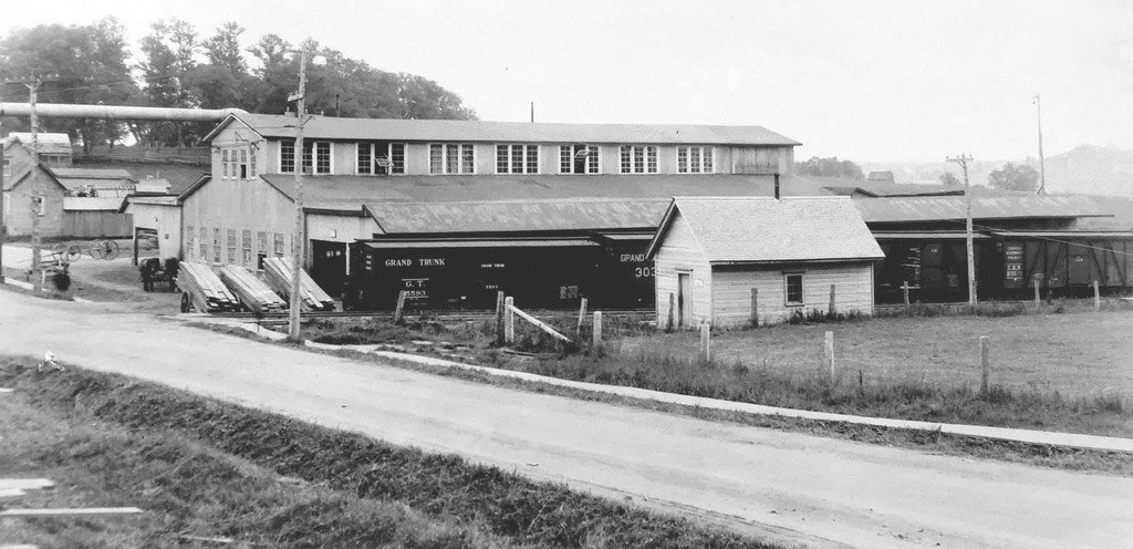 Pictured in this photo from the Bathurst Heritage Museum is the Bathurst Lumber Company's old planning mill. The building – which at the time had been situated across the street from the No. 1 mill along St. Peter Avenue–was located where the present day Tim Hortons and Leon's buildings now resideon St. Peter.The photo is circa 1915.