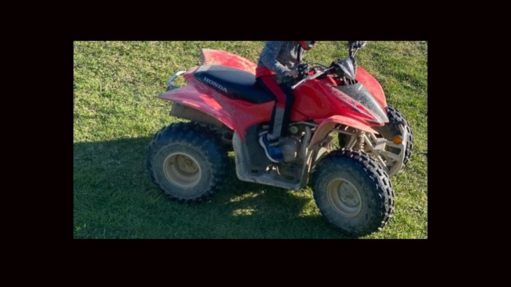 Police are searching for this 2016Honda TRX90, which was stolen from a home in Tilley earlier this month.