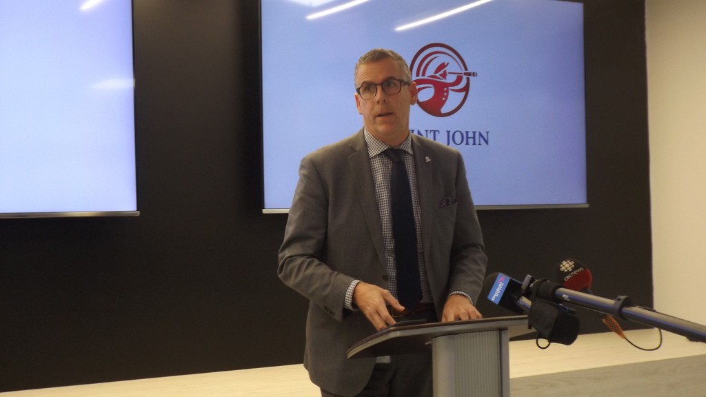 Saint John Mayor Don Darling speaks at a press conference in City Hall on Tuesday.