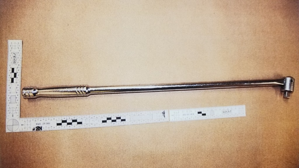 A socket wrench police say was seized while investigating the killing of Mark Shatford a year ago. Shatford, police say, was shot on Nov. 17, 2019, and died a month later. Justin David Breau is on trial for second-degree murder for the killing. The wrench, though, wasn't seized from Shatford's common law partner until Jan. 24.