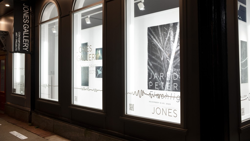 Artists' works can be seen from the Jones Gallery windows.