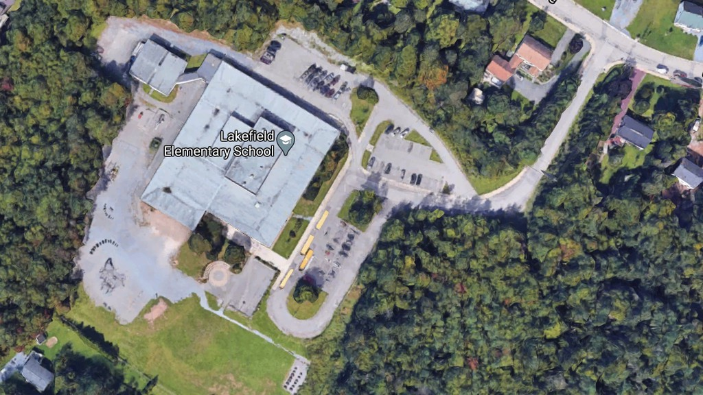 An overhead view of Lakefield Elementary School, which reported a COVID-19 case Monday evening.