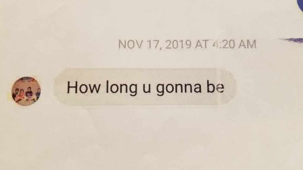The final message sent from Melissa Daley's account to Justin Breau five minutes before police were called for Breau allegedly shooting Daley's partner Mark Shatford last year.