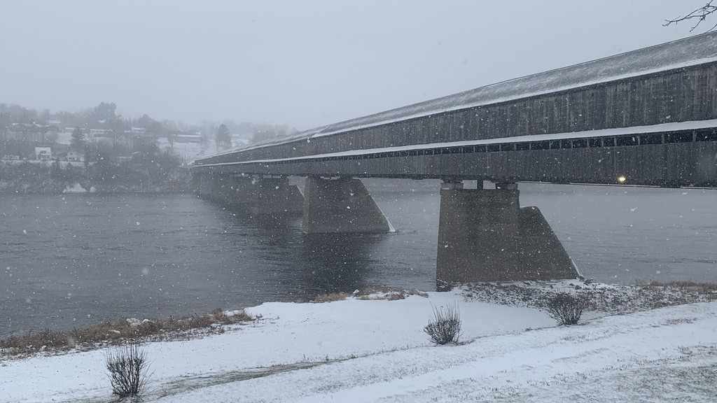 Snow falls at the world's longest covered bridge in Hartland on Wednesday, Nov. 25. Hartland council discussed future plans to build a boat dock and launch in the town's waterfront area during a council meeting on Monday night.