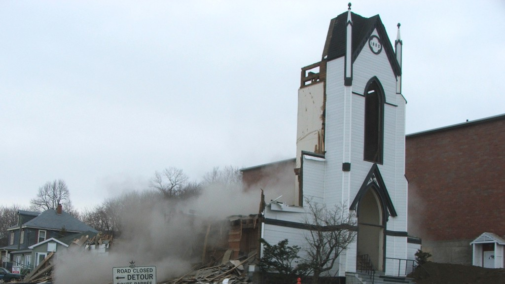 St. John's United Church in Dalhousie is demolished a few years ago. Other churches in the area have recently been demolished, a practice columnist Bill Clarke decries.