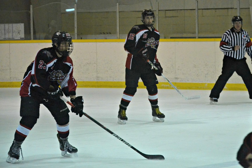 Drake Donovan, left, Will Falconer, and their Sunny Corner Thunder teammates have been sidelined indefinitely due to the Moncton, Saint John, and Fredericton health zones moving into the orange COVID-19 recovery phase. All New Brunswick Junior Hockey League games have been postponed until further notice.