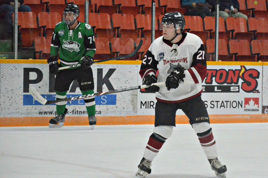 Miramichi Timberwolves forward Connor McGregor, 27, is leading the Maritime Junior Hockey League club in scoring with 15 points in nine games. McGregor, who's on the top line with childhood linemate Kennedy Gallant and captain Spencer Blackwell, had an assist in the Wolves' 7-4 loss to the Grand Falls Rapids in MHL play Nov. 28 at Miramichi Civic Centre.