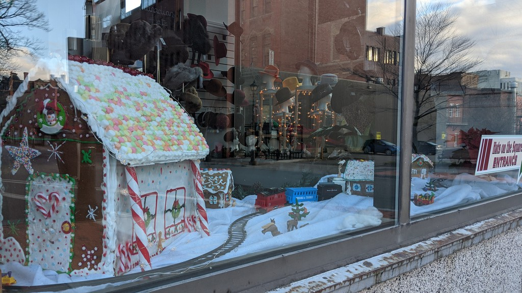 A Gingerbread Trail display at Hats on the Square in uptown Saint John.
