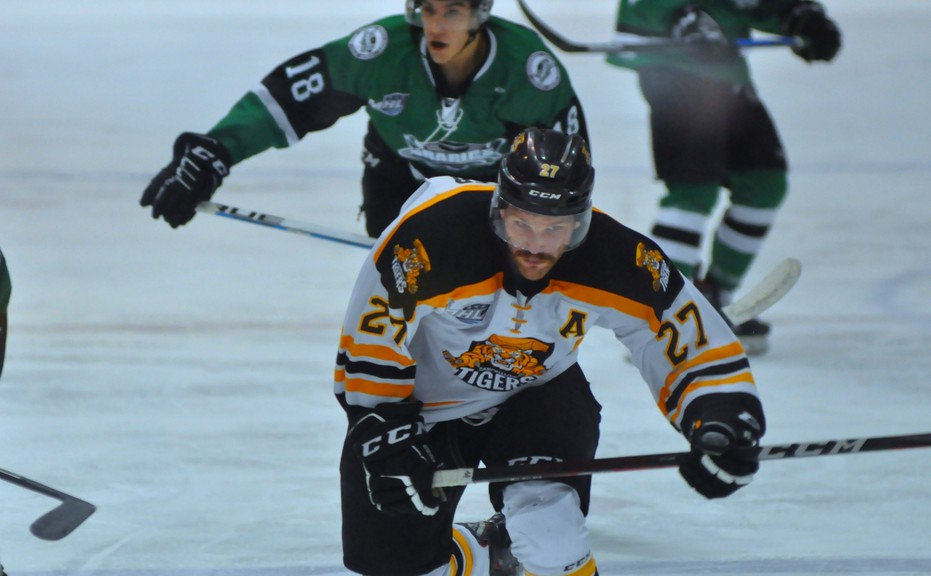 Joel Walker scored his second goal of the season for the Campbellton Junior A Tigers in a 5-3 home loss to the Grand Falls Rapids on Nov. 27.