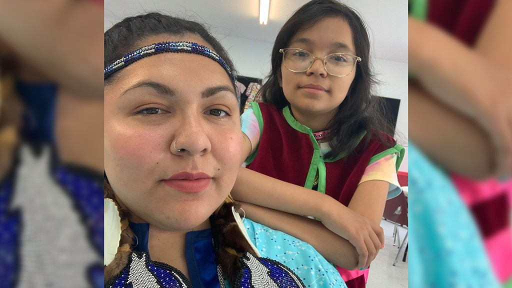 Natasha Barlow is pictured with her daughter Marilyn Francis. Barlow is working on completing recreations of regalia worn by Miꞌkmaq women during the late 1800s and early 1900s, with beadwork created by another artist.