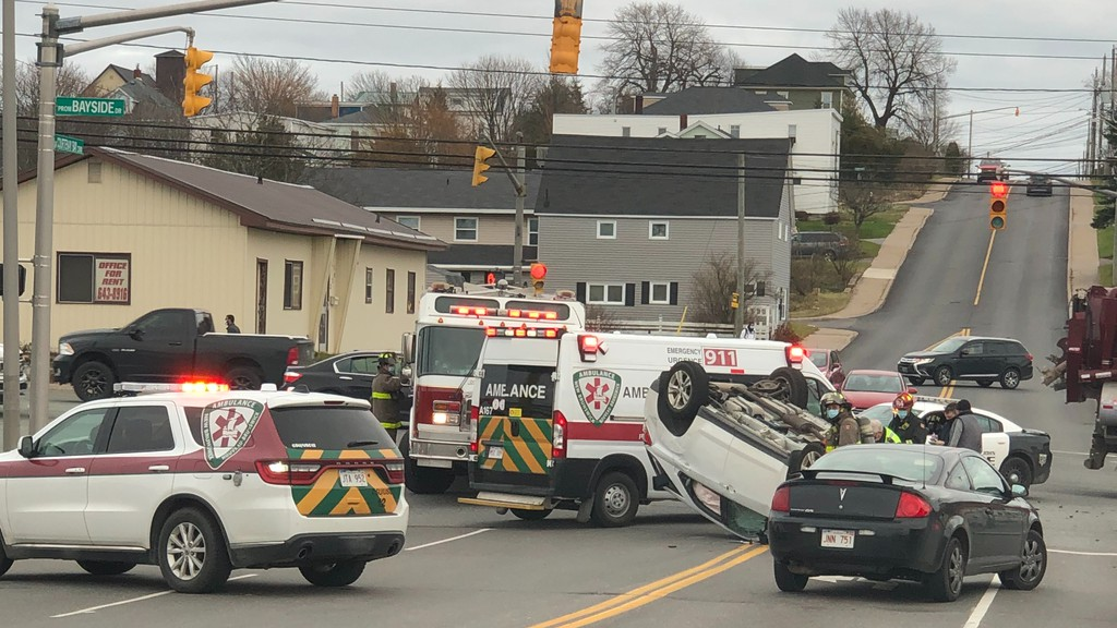 One person has been taken to Saint John Regional Hospital following a vehicle collision at the intersection of Bayside Drive and Courtenay Bay Causeway.