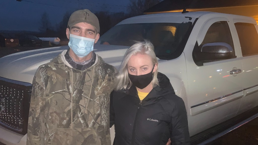 Woodstock couple Jacob Munn and Brooke Lockhart. Munn was ticketed for not wearing a mask in a public place when he crossed the parking lot at Tim Hortons near the Connell Mall in Woodstock on Sunday.