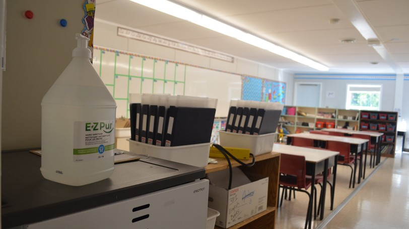 A classroom at Montgomery Street School in Fredericton seen here in a file photo from last year. Students are being encouraged to self-clean and disinfect their desks and disinfecting products will be available in each classroom.
