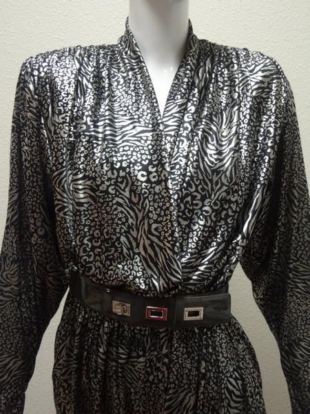 11d66cd17c1d 80s Vtg Belted Silver Lame  Jumpsuit M Leopard Dress 6 Clubwear Cocktail  Romper