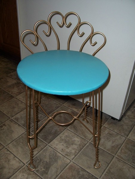 Vintage Retro Aqua Turquoise Vanity Chair Stool W/ Goldtone Metal Legs &  Back | Sold by Town Consignment Boutique - Vintage Retro Aqua Turquoise Vanity Chair Stool W/ Goldtone Metal