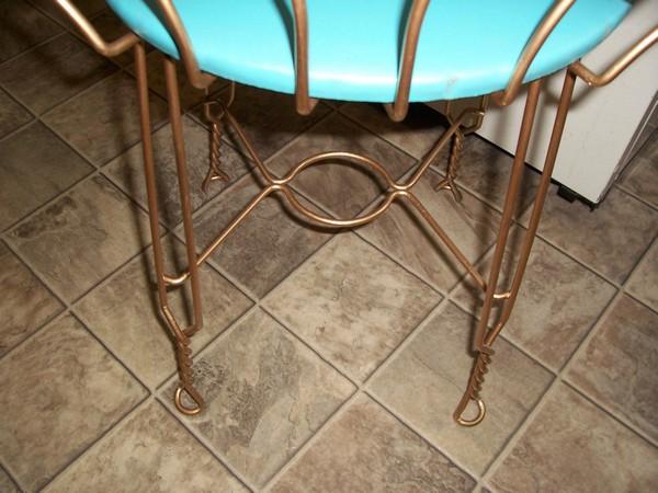 Vintage Retro Aqua Turquoise Vanity Chair Stool W