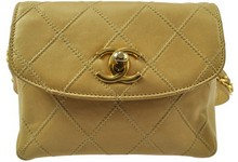 Auth Chanel Vintage Quiltted Bum Bag Porch Beige Leather Cc Logo