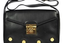 Salvatore Ferragamo Shoulder Bag Purse Black Leather Vintage