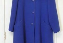 Vintage Classic Christian Dior Cobalt Blue Wool Swirl Coat