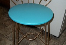 Vintage Retro Aqua Turquoise Vanity Chair Stool W/ Goldtone Metal Legs & Back