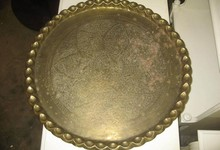 Brass Tray Table Top Wall Plaque Turkish Morrocan Charger Pie Crust Tray