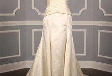 Authentic Reem Acra 3707 Starstruck Silk Satin Ivory Couture Bridal Gown