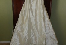 Badgley Mischka 100% Ivory Dupioni Silk Designer Strapless Wedding