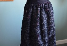 New Monique Lhuillier Petal Sequin Skirt Black Pink Dress Ball Gown