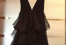 Alice And Olivia Black Silk Petal Dress