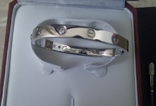 White Gold Cartier Love  Bracelet With Four Diamonds